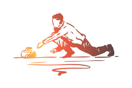 Curling, winter, sport, ice, stone concept. Hand drawn competition of curling concept sketch. Isolated vector illustration.