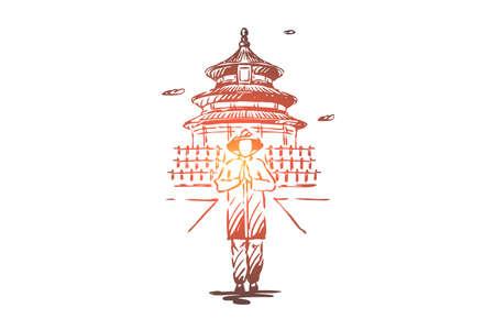 China, country, building, Asia, people concept. Hand drawn Chinese man in traditional dress concept sketch. Isolated vector illustration.