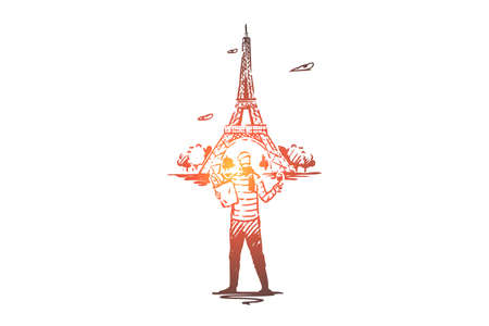 France, Paris, Eiffel, tower, man, baguette concept. Hand drawn Paris and Eiffel tower, symbols of France concept sketch. Isolated vector illustration.