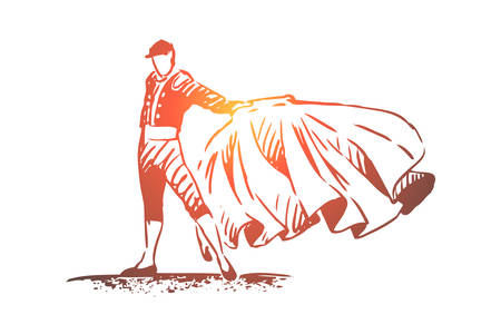 Spain, bullfight, matador, travel, country concept. Hand drawn bullfighter in special costume. Traditional Spanish entertainment concept sketch. Isolated vector illustration. Ilustracja