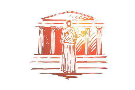 Greece, travel, temple, building, column concept. Hand drawn ancient architecture and antique god. Symbols of Greece concept sketch. Isolated vector illustration. Ilustração Vetorial