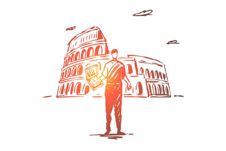 Italy, country, pizza, Colosseum, Rome concept. Hand drawn Italian man with pizza, Colosseum on background. Religion building concept sketch. Isolated vector illustration.