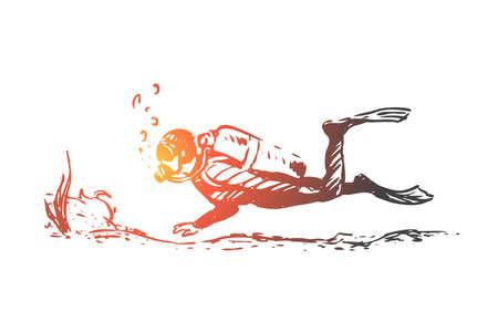 Plongée sous-marine, plongée, sous-marine, sport, concept de mer. Homme dessiné à la main plongeant avec un croquis de concept sous-marin d'équipement. Illustration vectorielle isolée.