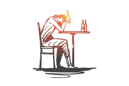 Depression, alcohol, problem, bottle, drink concept. Hand drawn man in depression drink alcohol concept sketch. Isolated vector illustration. Vetores