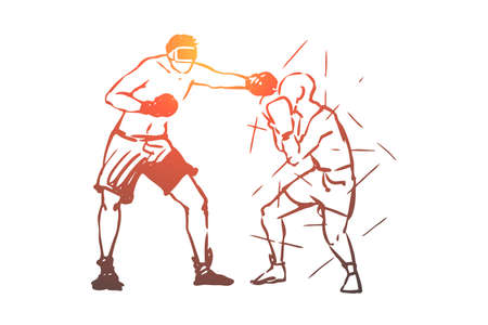 Sport, games, fight, man, active concept. Hand drawn men fight in wrestling concept sketch. Isolated vector illustration.