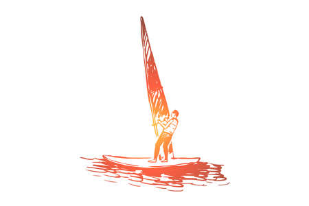 Windsurfing, water, sea, summer, sport concept. Hand drawn summer extreme sport windsurfing skiing concept sketch. Isolated vector illustration.