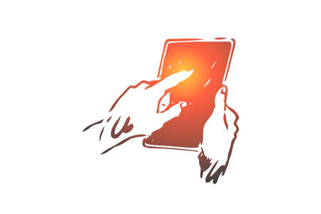 Tablet, hand, screen, finger, touch concept. Hand drawn person push on tablets screen concept sketch. Isolated vector illustration.