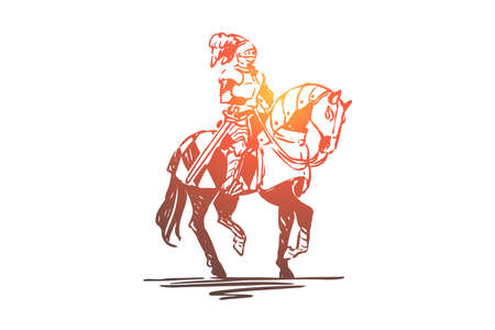 Knight, horse, medieval, character, armor concept. Hand drawn ancient knight dressed in armor on knight concept sketch. Isolated vector illustration. Illustration