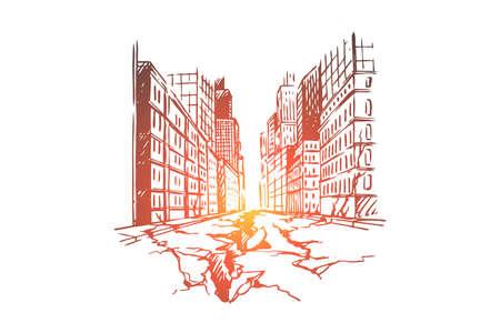 Tremblement de terre, ville, catastrophe, dommages, concept de danger. Fissure au sol dessinée à la main en raison d'un croquis de concept de tremblement de terre. Illustration vectorielle isolée. Vecteurs