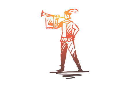 Trumpeter, medieval, trumpet, message, ancient concept. Hand drawn medieval trumpeter in ancient style clothes concept sketch. Isolated vector illustration. 일러스트