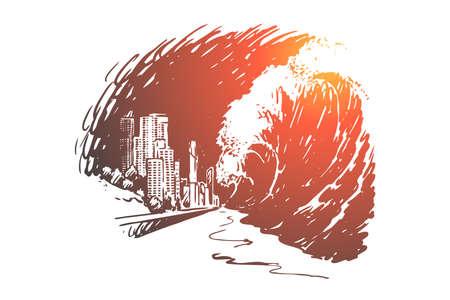 Tsunami, pericolo, onda, disastro, mare, concetto di terremoto. Le onde di tsunami disegnate a mano coprono lo schizzo del concetto di edifici della città. Illustrazione vettoriale isolato.