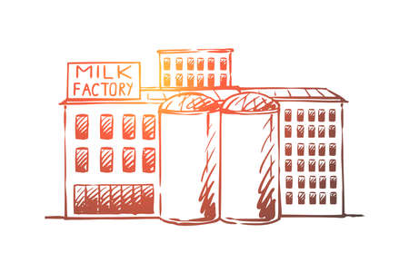 Milk, factory, plant, production, industry concept. Hand drawn buildings of milk production factory concept sketch. Isolated vector illustration.