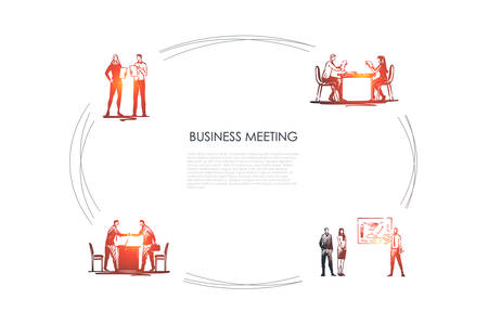 Business meeting - business people making presentations, negociating, making reports, communicating vector concept set. Hand drawn sketch isolated illustration