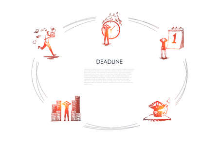 Deadline - business people hurrying up in office because of deadlines vector concept set. Hand drawn sketch isolated illustration