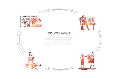 Dry-cleaning - ironing, chemical cleaning, machine washing, drying vector concept set. Hand drawn sketch isolated illustration