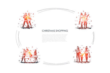 Christmas shopping - people walking with christmas presents, new year tree and bags vector concept set. Hand drawn sketch isolated illustration Stock Illustratie