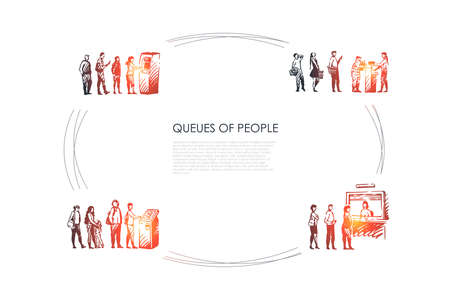 Queues of people - people in line waiting for their turn for atm, paying terminal and for boarding vector concept set. Hand drawn sketch isolated illustration Vettoriali