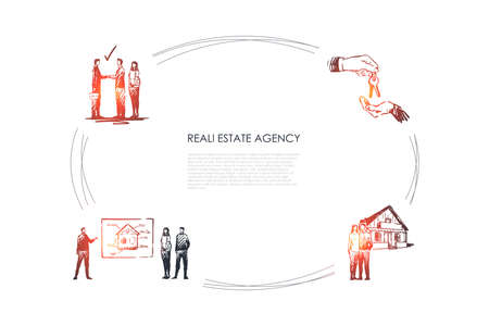 Real estate agency - presentation of new apartment, deal with new keys, happy family with new house vector concept set. Hand drawn sketch isolated illustration