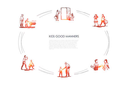 Kids good manners - boy helping girl to carry bag, giving piece of food, helping old people to walk, sit and carry bags vector concept set. Hand drawn sketch isolated illustration Banque d'images - 120946852