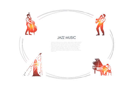 Jazz music - cellist, saxophonist, pianist and singer vector concept set. Hand drawn sketch isolated illustration