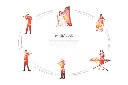 Musicians - violinist, harpist, cellist, xylophone player, flutist, bassoonist vector concept set. Hand drawn sketch isolated illustration Vettoriali