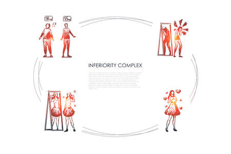 Inferiority complex - women with inferiority complex not satisfied with weight and appearance vector concept set. Hand drawn sketch isolated illustration