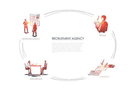 Recruitment agency - recruiting agency, job interview, resume, contract vector concept set. Hand drawn sketch isolated illustration