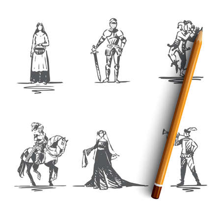 Medieval characters - knight, troubadour, buffon, peasant woman and countess vector concept set. Hand drawn sketch isolated illustration Vektoros illusztráció