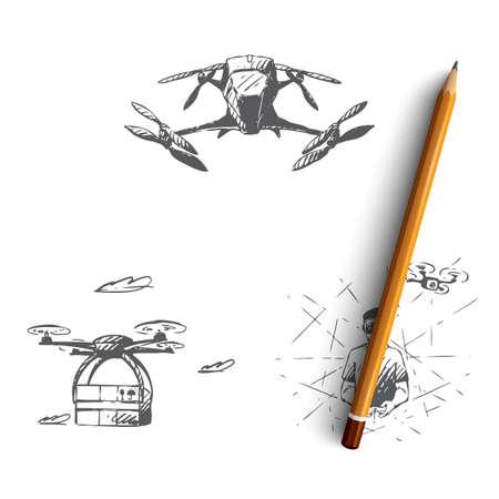 Drones - équipement et extensions, télécommande sur vr, ensemble de concepts vectoriels de transport de mouches modernes. Illustration isolée de croquis dessinés à la main