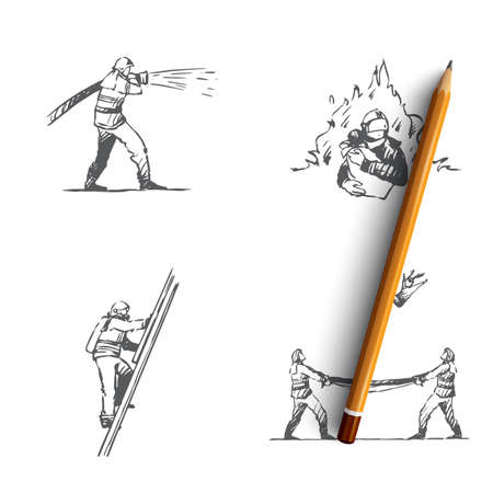 Firefighter - man firefighter extinguishing fire, climbing up ladder, saving people and catching from above vector concept set. Hand drawn sketch isolated illustration