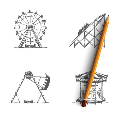Attraction - swings and carousels attractions vector concept set. Hand drawn sketch isolated illustration 向量圖像