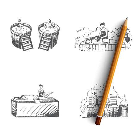 Bath - japanese bath, russian bath, finnish sauna, turkish bath vector concept set. Hand drawn sketch isolated illustration Illustration