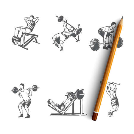 Body building - man making exercises with barbell in gym vector concept set. Hand drawn sketch isolated illustration Ilustração