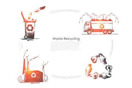 Zero waste, nature, ecology protection, pollution reduction, environment preservation, plastic free banner. Garbage disposal, trash recycling concept sketch. Hand drawn vector illustration Illustration