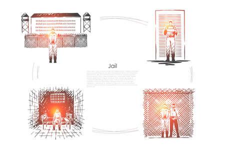 Jail, criminal penalty, crime punishment, prisoner incarceration, convict behind bars, correctional institution banner. Prison detention, imprisonment concept sketch. Hand drawn vector illustration