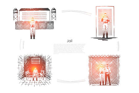 Jail, criminal penalty, crime punishment, prisoner incarceration, convict behind bars, correctional institution banner. Prison detention, imprisonment concept sketch. Hand drawn vector illustration Illustration