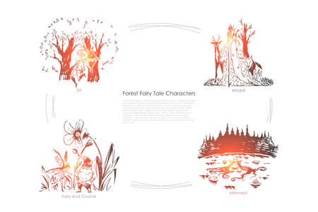 Fantastic imaginary, mythical creatures, elf, wizard, gnome and mermaid, imagination world, magic place banner template. Forest fairy tale characters concept sketch. Hand drawn vector illustration