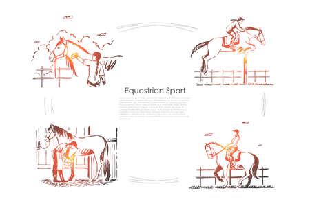 Hippodrome races, jockey on horseback, horseman in saddle, equine show, stallion in barn banner template. Horse breeding, equestrian sport concept sketch. Hand drawn vector illustration