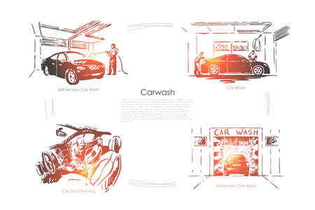 Automobile maintenance business, vehicle care, automatic and dry transport cleaning banner template. Car wash service, auto washing station concept sketch. Hand drawn vector illustration