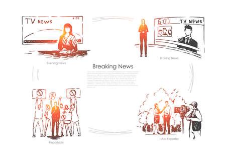 Abendfernsehprogramm, weibliche Nachrichtensprecherin, Reporterin, die ein Interview führt, Pressebanner der Massenmedien. Journalistenberuf, Konzeptskizze für die Nachrichtensendung. Handgezeichnete Vektorillustration Vektorgrafik