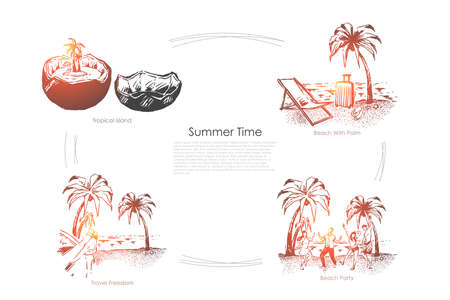 Travel to paradise island, seashore with palm trees, exotic vacation, party on sand beach, holiday season banner. Summer recreation, tropical resort concept sketch. Hand drawn vector illustration