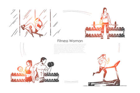 Sportswoman working out, sport activity, people training in gym, treadmill jogging, bodybuilding banner. Fitness exercise, healthy lifestyle concept sketch. Hand drawn vector illustration