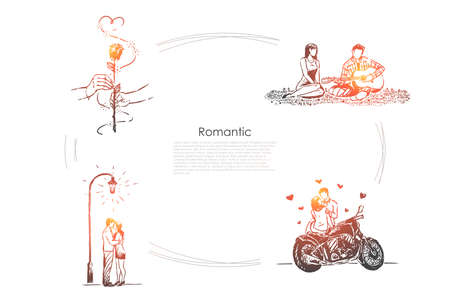 Husband and wife on picnic, man playing guitar, girlfriend and boyfriend on date, dating banner. Romantic relationship, valentine day celebration concept sketch. Hand drawn vector illustration Иллюстрация