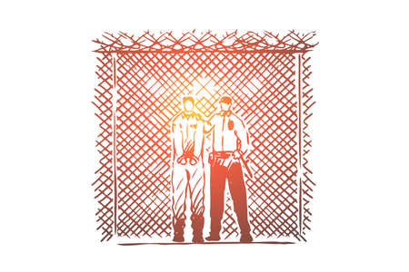 Prisoner and prison guard standing by wire fence, inmate in handcuffs, jail security, law enforcer in uniform. Correctional institution, justice system concept sketch. Hand drawn vector illustration