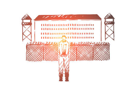 Prisoner in handcuffs standing outside jailhouse, jail break attempt, building with metal fence, watchtowers. Penitentiary institution, prison exterior concept sketch. Hand drawn vector illustration