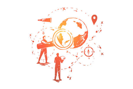 Global data analysis, seo research, navigation system development, people planning business expansion. Study geography, search engine optimization concept sketch. Hand drawn vector illustration Vektorové ilustrace