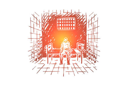 Preso tras las rejas, preso sentado en la cama en la celda de la cárcel, institución correccional, sistema de justicia. Castigo por el crimen, bosquejo del concepto de encarcelamiento en prisión. Ilustración de vector dibujado a mano
