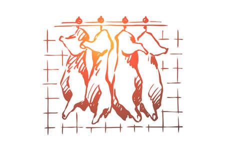 Slachthuis, vleessnijden, gehakt varkensvlees, runderkarkassen die in de vriezer hangen, koelkast, rauw, ongekookt product. Slagerijopslag, schets van het slachthuisconcept. Hand getekende vectorillustratie Vector Illustratie