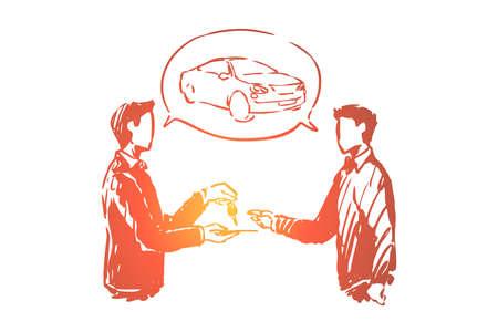 Automobilausstellungsraum, Mann, der Transporte kauft, Verkäufer, der Kundenschlüssel gibt, Kunde und Verkäufer, die Geschäfte machen. Autoverkaufsgeschäft, Autovermietungsservice-Konzeptskizze. Handgezeichnete Vektorillustration Vektorgrafik