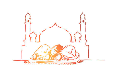 Muslim people fasting, traditional islamic holiday celebration, arabic religion and culture, arab architecture. Ramadan, prayers kneel, eid mubarak concept sketch. Hand drawn vector illustration